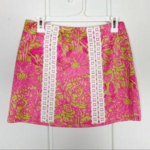 Lilly Pulitzer Floral Pink Green Skirt Skort